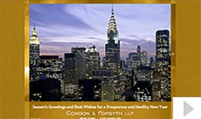 Condon & Forsyth LLP custom corporate holiday business ecard