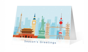 Cartoon Landmark Holiday Greeting card