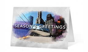 Watercolor Scenes Christmas corporate holiday greeting card thumbnail