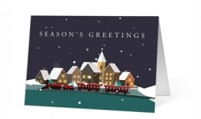 Cartoon Winter Train Greeting Christmas Card