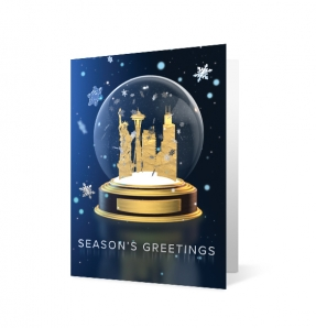 Gleaming Globe corporate holiday greeting card thumbnail