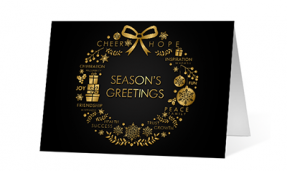 2019 elegant wishes corporate holiday greeting card thumbnail