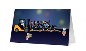 2019 forklift fun corporate holiday greeting card thumbnail