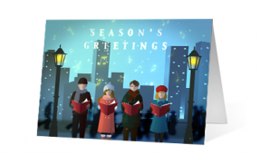2019 city carolers corporate holiday greeting card thumbnail