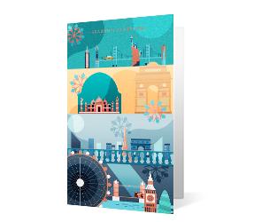 2019 city celebration corporate holiday greeting card thumbnail