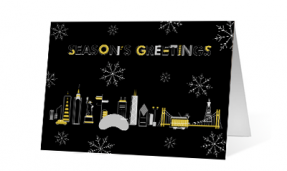 2019 line cities corporate holiday greeting card thumbnail