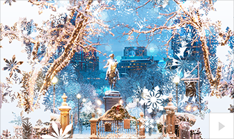 Crystal Fountain photo snowflake Christmas holiday business ecard