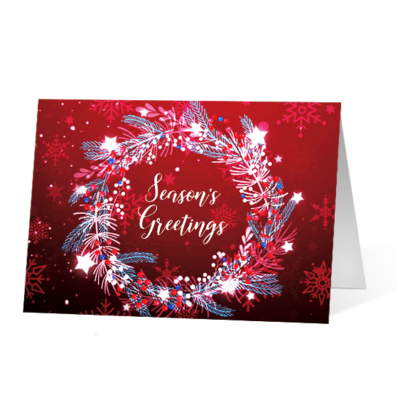Delightful Wreath 2020 corporate holiday print greeting card