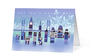 Drifting Snowflake 2020 corporate holiday print greeting card thumbnail
