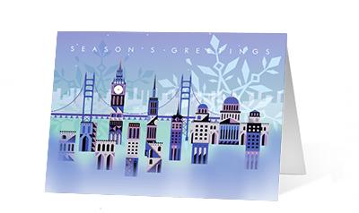 Drifting Snowflake 2020 corporate holiday print greeting card thumbnail