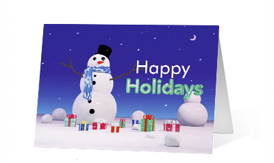 Snowman Surprise 2020 corporate holiday print greeting card thumbnail