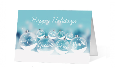 Wintery Sentiments 2020 corporate holiday print greeting card thumbnail