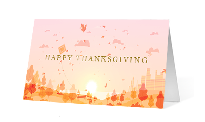 Autumn Wind 2020 corporate holiday print greeting card thumbnail