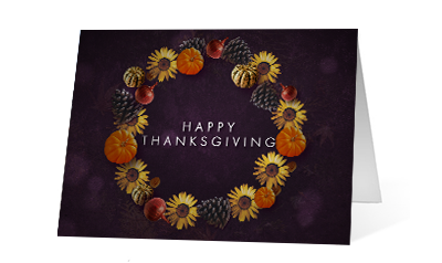Gratitude Wreath 2020 corporate holiday print greeting card thumbnail