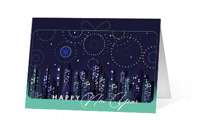 Sparkling New Year 2020 corporate holiday print greeting card thumbnail