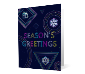 Merry Bright version 1 2020 corporate holiday print greeting card thumbnail