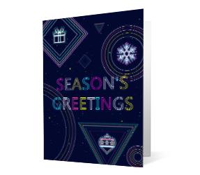 Merry Bright version 1 2020 corporate holiday print greeting card thumbnail