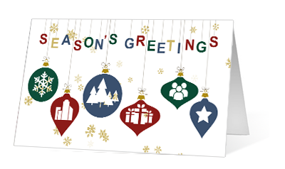 Ornament Inside Illustration version 2020 corporate holiday print greeting card thumbnail