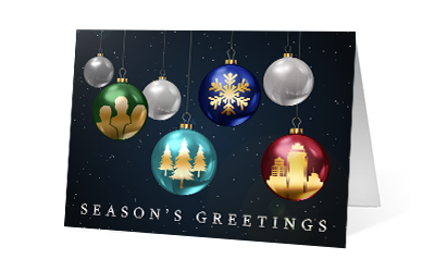 Ornament Inside Photo version 2020 corporate holiday print greeting card Thumbnail