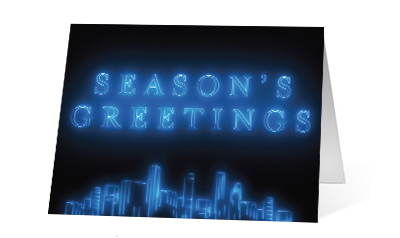Outline Cities 2020 corporate holiday print greeting card thumbnail