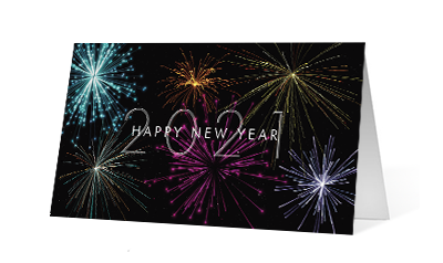 Time zone new year 2020 corporate holiday print greeting card thumbnail